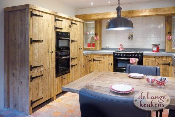 Beneden 4 Model Barn Rustiek eiken houten keuken met opdek scharnieren