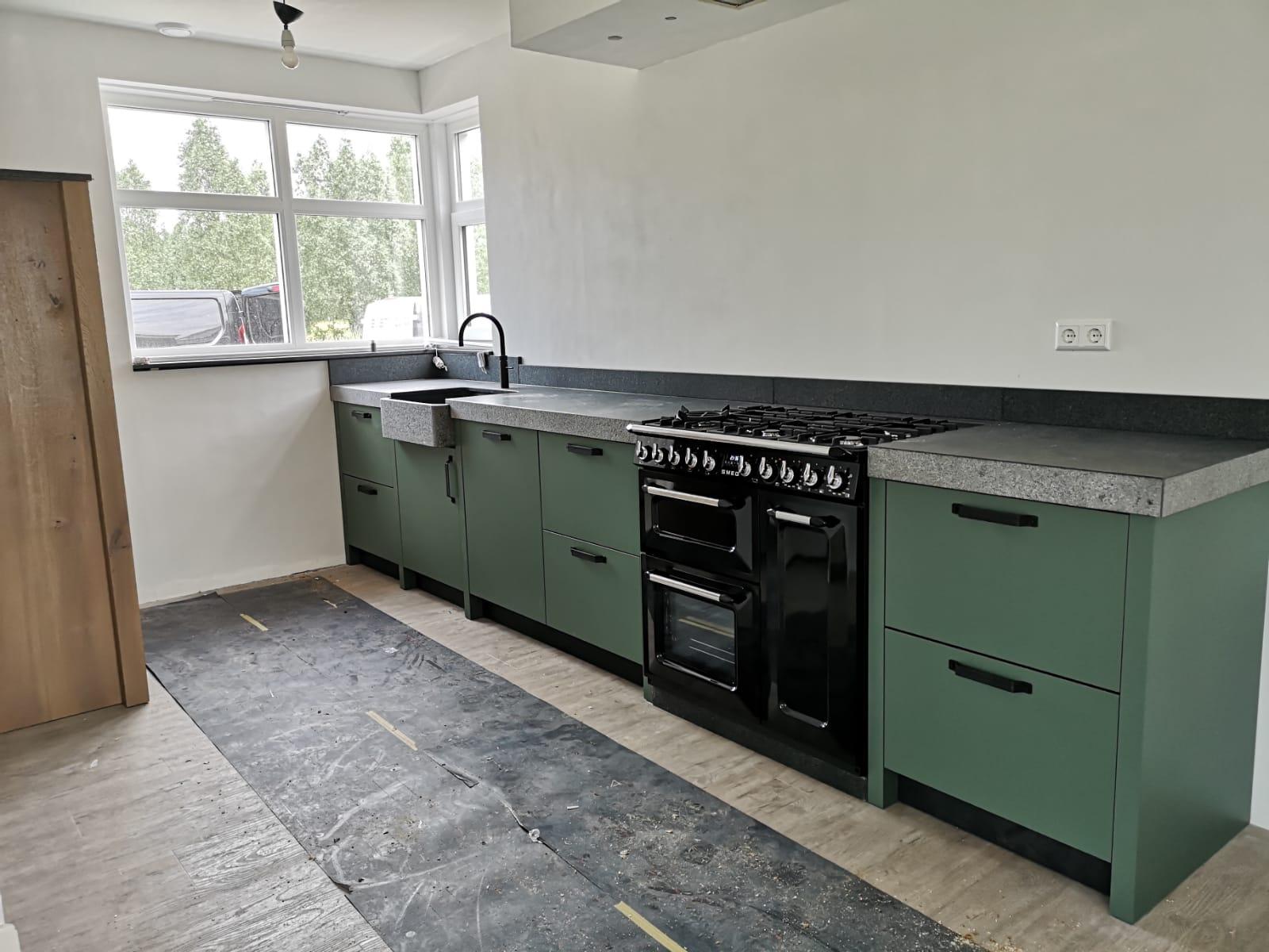 Landelijke Groen Gelakte Keuken Met Houten Kast Ommen De Lange Keukens